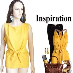 Ann Taylor Yellow Sleeveless Bow Tie Front Top